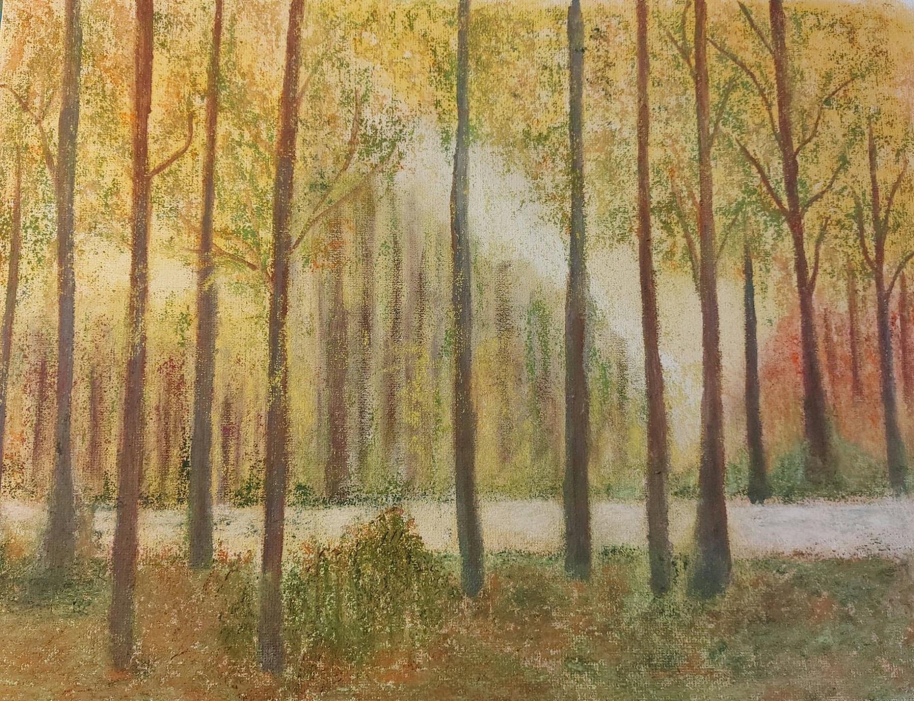 Pastel sur toile Forêt (2) 2020